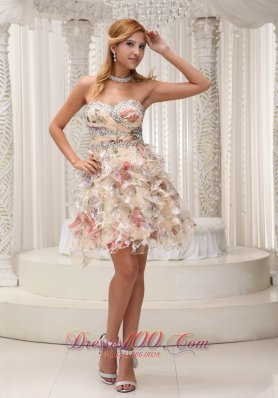 Printed Ruffles And Beading Short Homecoming Prom Dress