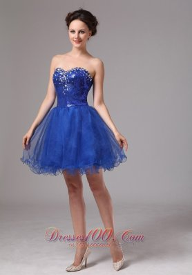 Mini Length Sequins Royal Blue Club Prom Dress