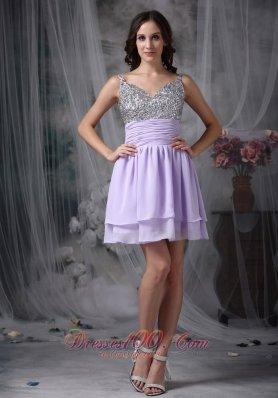Lialc Straps Short Prom Dress Chiffon Beading Mini-length