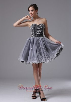 Custom Made Strapless Grey Short Prom Dress Beading