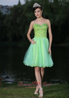 Sweetheart Beaded Bodice Green Cocktail Party Dress
