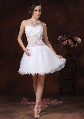 Appliques Sweetheart Mini-length White Cocktail Homecoming Dress