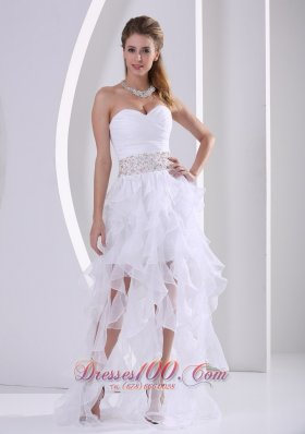 Ruffles White Prom Homecoming Dress with Beading