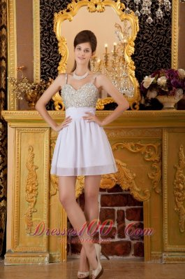 Straps Mini-length Chiffon Beading White Prom Holiday Dress