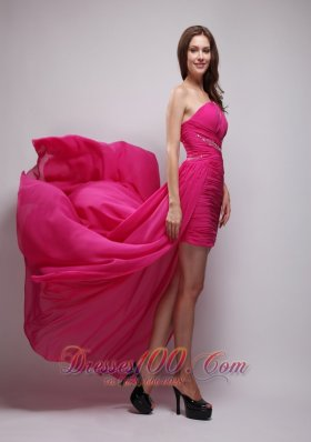 Hot Pink One Shouleder Strap Beading Evening Dress