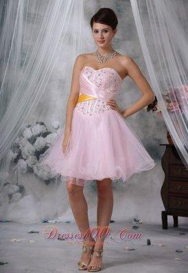 Beaded Baby Pink Mini-length Homecoming Dress