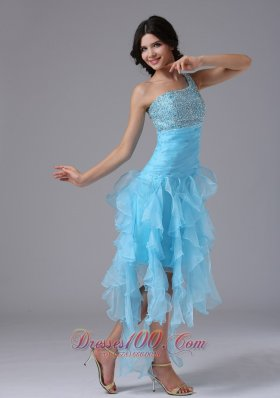 High-low and Beading One Shoulder Strap Prom Dress Blue