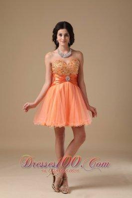 Sweetheart Mini-length Beading Prom Dress Orange Red