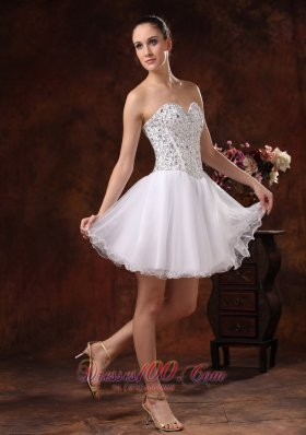 Strapless Beading White Homecoming Dress Mini-length