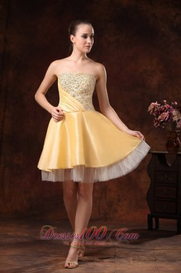 Gold Beaded Knee-length Homecoming Dress Custom Made
