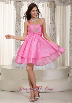 One Shoulder Beading Prom Dress Rose Pink