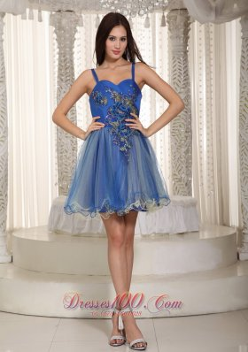 Straps Mini-length Organza Appliques Prom Dress Blue
