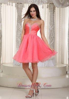 Watermelon Red Strapless Knee-length Beading Prom Dress