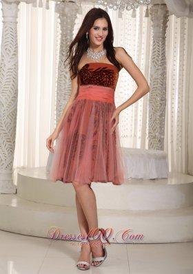 Strapless Printing and Tulle Belt Prom Graduation Dress Rust Red