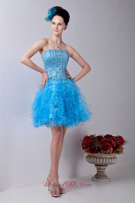 Baby Blue Strapless Homecoming Dress Organza Beading