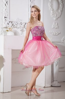 Pink Strapless Short Prom Homecoming Dress Taffeta and Organza Beading