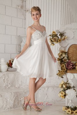 Straps Short Prom Homecoming Dress Chiffon Beading White
