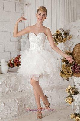 White strapless Short Prom Dress Organza Beading