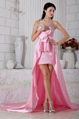 Beading Sweetheart Evening Dress High-low Rose Pink
