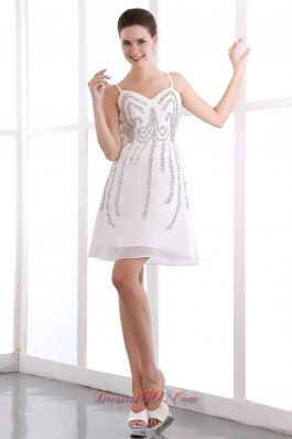 Spaghetti Straps White Sequins Prom Homecoming Dress Organza