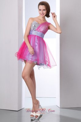 Hot Pink and Lilac One Shoulder Mini-length Prom Dress