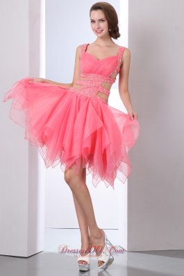 Coral Red Straps Prom Dress Beading