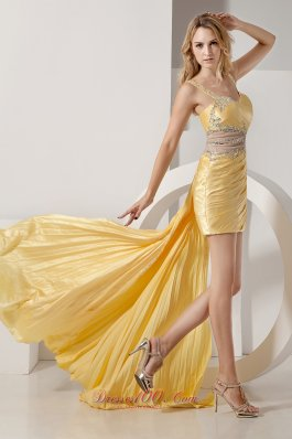 Detachable Beading Straps High-low Prom Dress Yellow