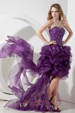 Purple High-low Sweetheart Beading Graduation Dress