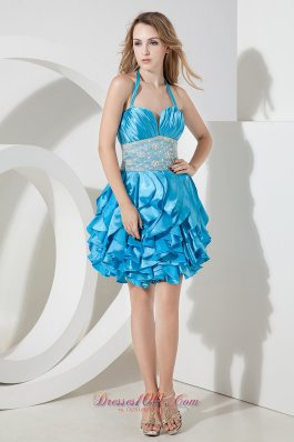 Ruffles Halter Lace Mini-lengrh Prom Dress