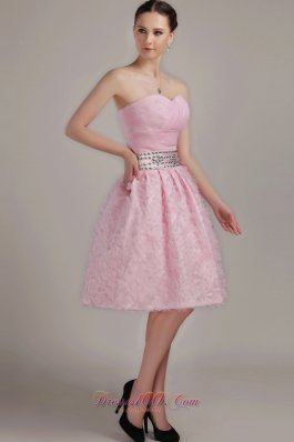 Knee-length Sweetheart Beading Organza Prom Party Dress