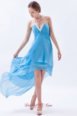 Layers Beading V-neck High-low Prom Dress