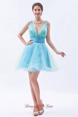 Organza SequinsV-neck Short Prom / Evening Dress