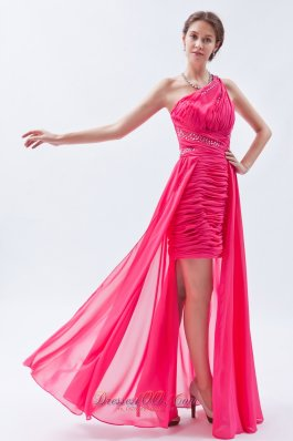 Sequin One Shoulder Hot Pink High-low Prom Dress