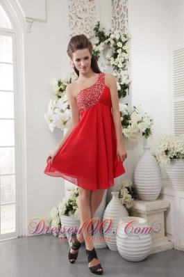 Red Beading One Shoulder Short Prom / Cocktail Dress