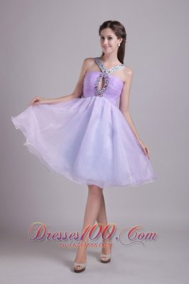 Lilac A-line V-neck Organza Beading Prom Cocktail Dress