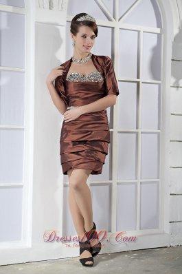 Mini-length Sweetheart Ruch Beading Prom Dress