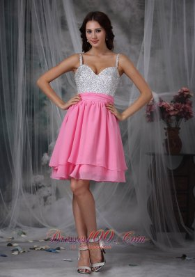 Pink and White Straps Beading Graduation Dress Short