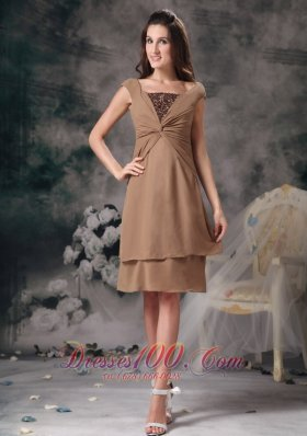 Brown Short Prom Homecoming Dress Mini-length Organza