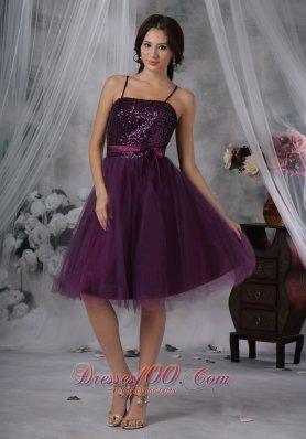 Dark Purple Prom Dress Spaghetti Straps Sequins Tulle