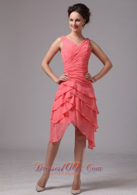 V Neck Ruches Layered Watermelon Prom Homecoming Dress