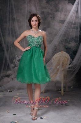 Lake Green Beading Prom Cocktail Dress Organza Sash