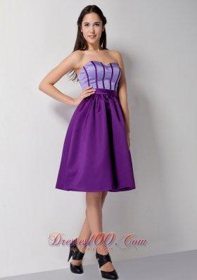 Eggplant Purple Knee Length Taffeta Cocktail Dress