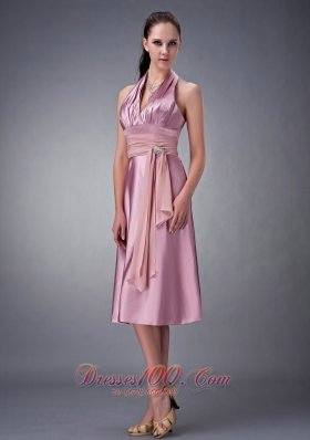 Halter Light Pink Ruches Taffeta Tea Length Prom Dress