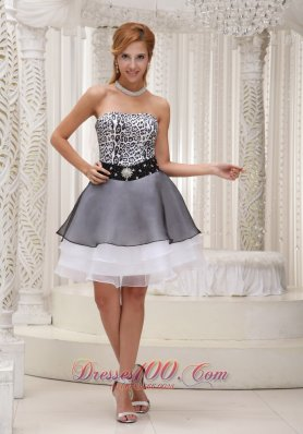 Leopard Short Layered Organza Black Prom Evening Dress