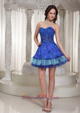 Blue Cocktail Party Dress Layered Appliques Short