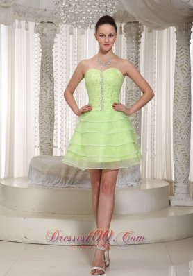 Yellow Green Layered Ruched Prom Cocktail Prom Dress
