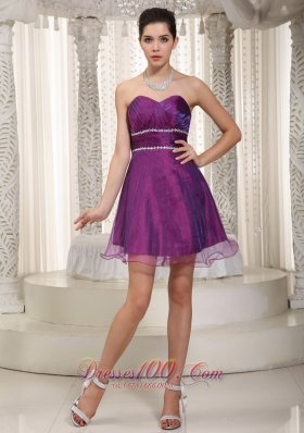 Purple Pleated Layered Prom Cocktail Dress Organza