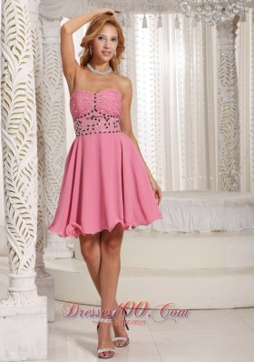 Ruches Watermelon Beading Chiffon Short Cocktail Dress