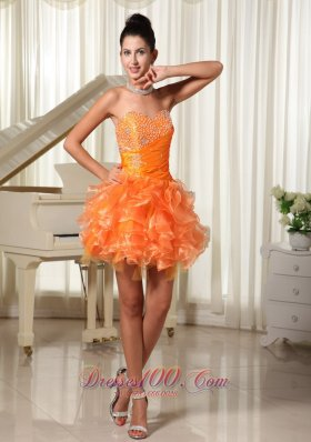 Orange Beading Bust Ruffles Cocktail Dress Mini-length
