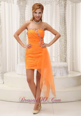Ruched Prom / Cocktail Dress Beaded Decorate Sweetheart